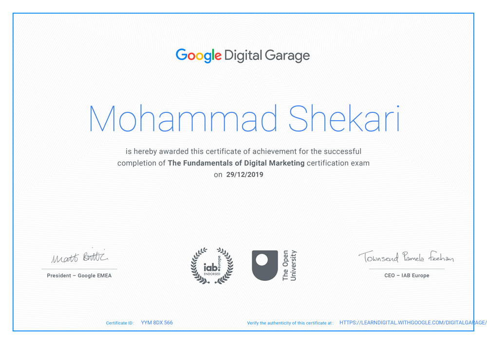مدرک دیجیتال مارکتینگ گوگل