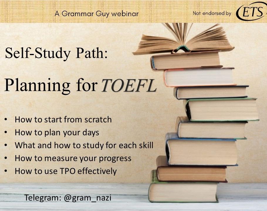 وبینار برنامه ریزی خودخوان TOEFL مسیر Self Study