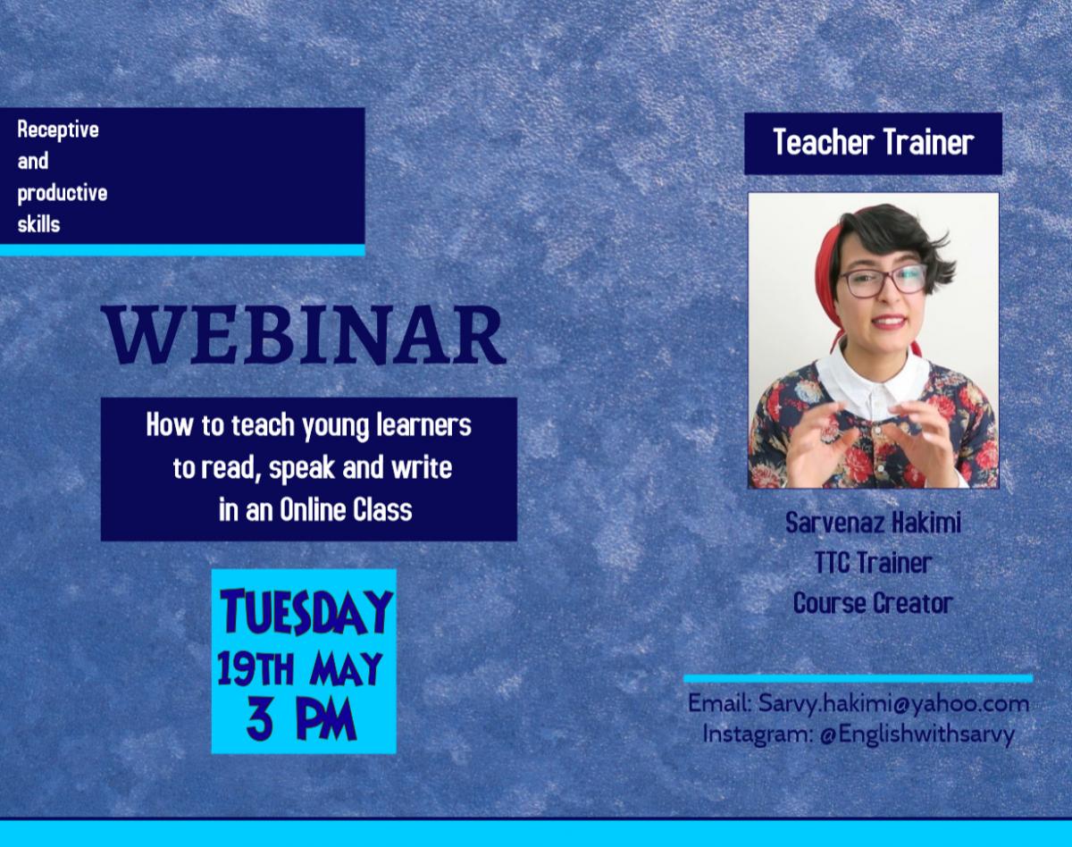 وبینار Teaching young learners to read, speak and write in an Online Class