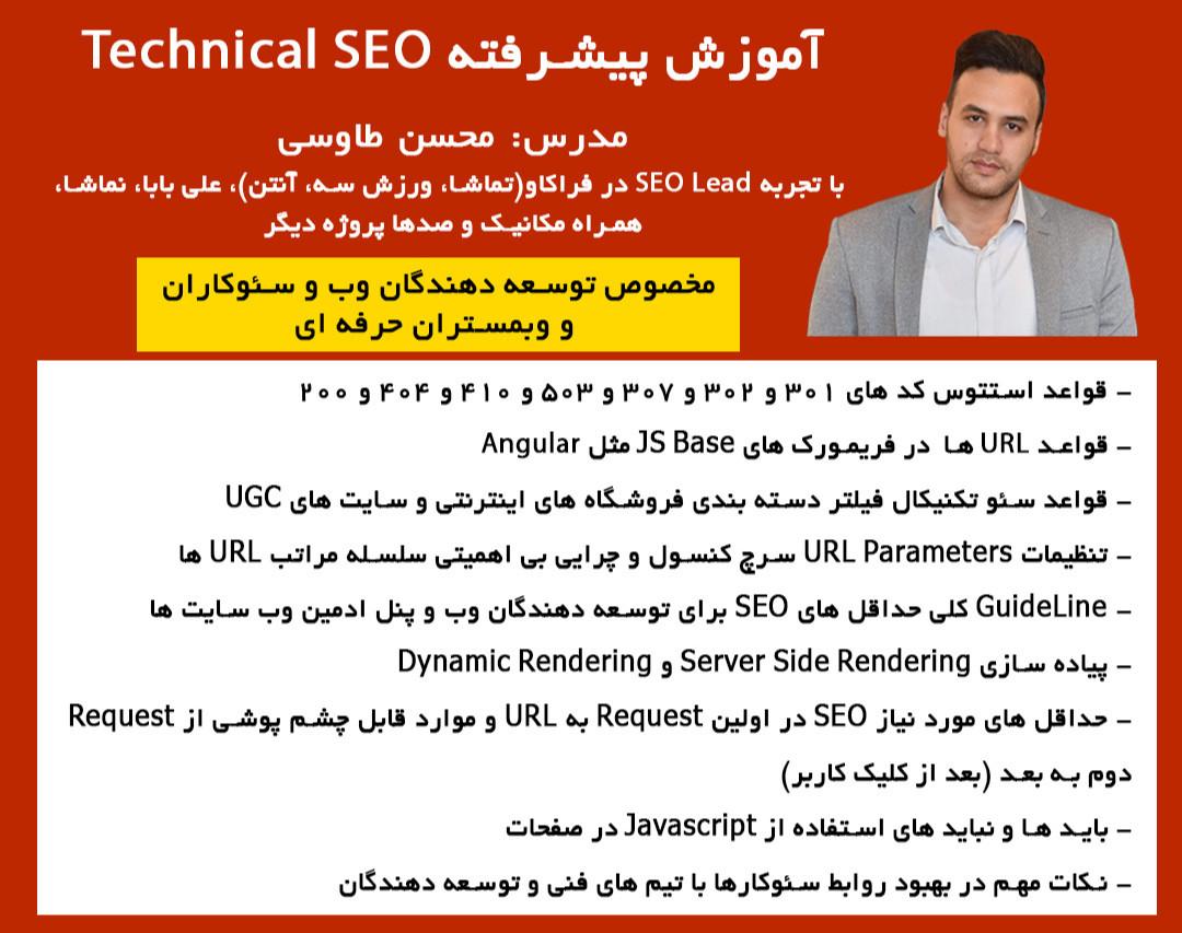 آموزش پیشرفته تکنیکال سئو سایت های فروشگاهی، خدماتی و UGC با محسن طاووسی