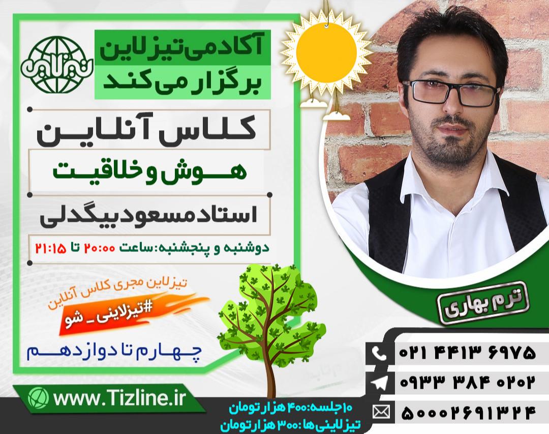 وبینار تیزلاین:کلاس آنلاین هوش و خلاقیت ششم استاد مسعود بیگدلی ترم بهاری 1400